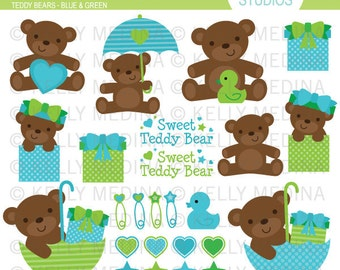 Teddy Bears - Blue & Green - Clip Art - Digital Elements Commercial use for Cards, Stationery and Paper Crafts and Products