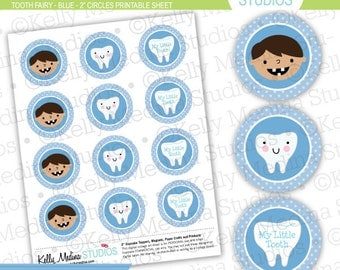 Tooth Fairy Blue - 2 inch Circle Digital Sheet - Commercial use for Cupcake Toppers, Magnets, Paper Crafts and Products