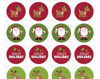 Christmas Santa and Reindeer - 1.5 inch Circle Digital Sheet - Commercial use for Cupcake Toppers, Magnets, Paper Crafts and Products