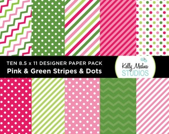 001A Pink and Green Stripes and Dots - Designer Paper Pack - Digital Elements for Cards, Stationery, Backgrounds, Paper Crafts and Products