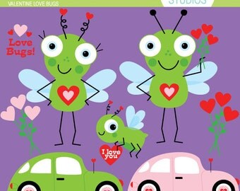 Valentine Love Bugs - Pink & Green - Clip Art - Digital Elements Commercial use for Cards, Stationery and Paper Crafts and Products
