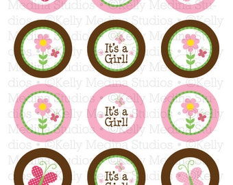 Butterfly Baby Shower - 2 inch Circle Digital Sheet - Commercial use for Cupcake Toppers, Magnets, Paper Crafts and Products
