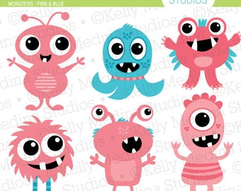 Monsters Pink and Blue - Clip Art - Digital Elements Commercial use for Cards, Stationery and Paper Crafts and Products