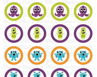 Monsters - 1.5 inch Circle Digital Sheet - Commercial use for Cupcake Toppers, Magnets, Paper Crafts and Products