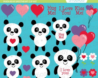 Panda Bear Sweethearts - Clip Art - Digital Elements Commercial use for Cards, Stationery and Paper Crafts and Products