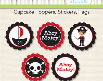 Pirate Boy Birthday - 2 inch Circle Digital Printable Sheet - Commercial use for Printed Cupcake Toppers, Paper Crafts and Products