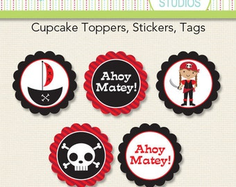 Pirate Girl Birthday - 2 inch Circle Digital Printable Sheet - Commercial use for Printed Cupcake Toppers, Paper Crafts and Products