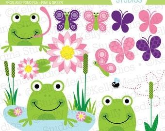 Frog and Pond Fun - Pink and Green - Clip Art Set Digital Elements for Cards, Stationery and Paper Crafts and Products