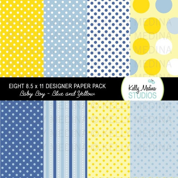 Baby Boy - Blue and Yellow - Designer Paper Pack Set Digital Elements for Cards, Stationery and Paper Crafts and Products