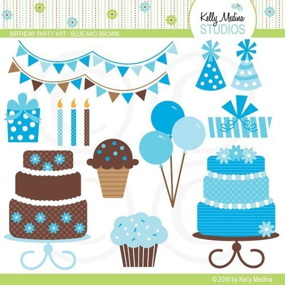 Birthday Party Art Set- Blue and Brown