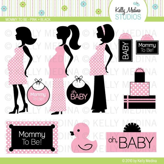 Mommy To Be - Pink and Black - Clip Art Set - Digital Elements Commercial use for Cards, Stationery and Paper Crafts and Products