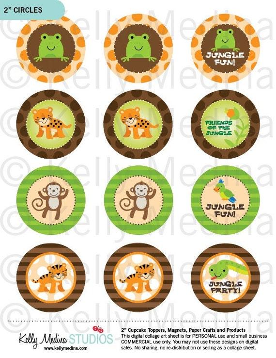 Jungle Animals 2 Inch Circle Printable Digital Collage Sheet