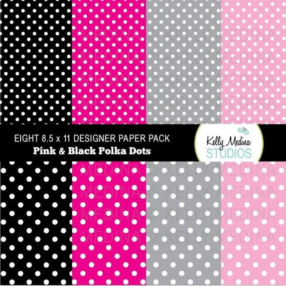 Polka Dots - White on Pink and Black  - Designer Paper Pack Set Digital Elements for Cards, Stationery and Paper Crafts and Products