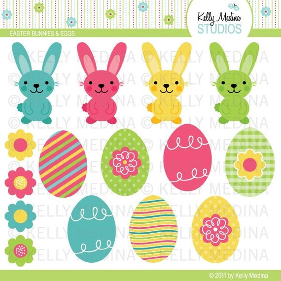 Easter Bunnies and Eggs - Clip Art Set - Digital Elements Commercial use for Cards, Stationery and Paper Crafts and Products