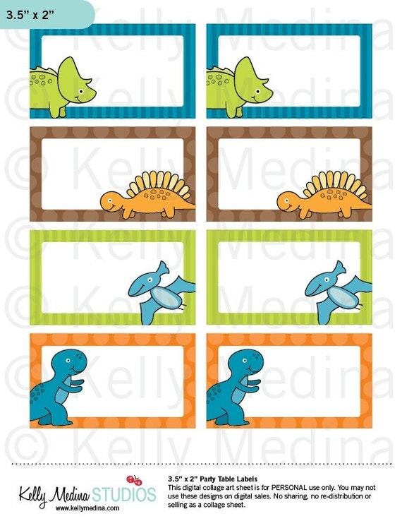 Dinosaurs  - Printable Labels - Personal Use, Table, Gift Bag labels, Paper Crafts and Products