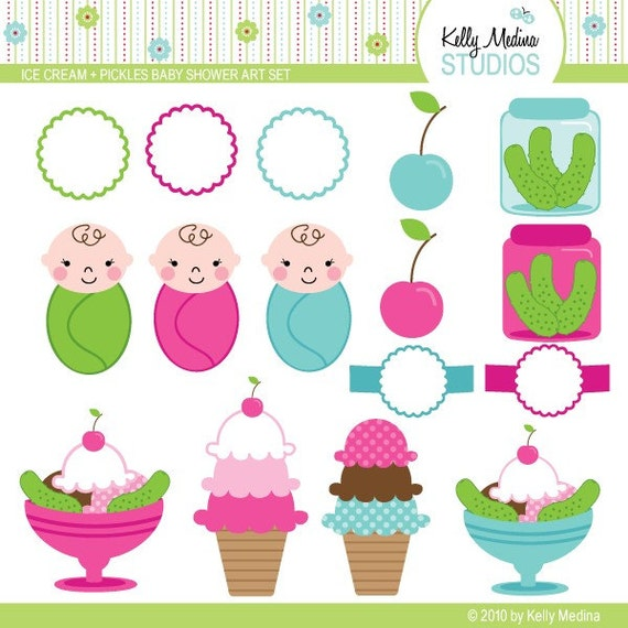 Items Similar To Ice Cream And Pickles Baby Shower Clip
