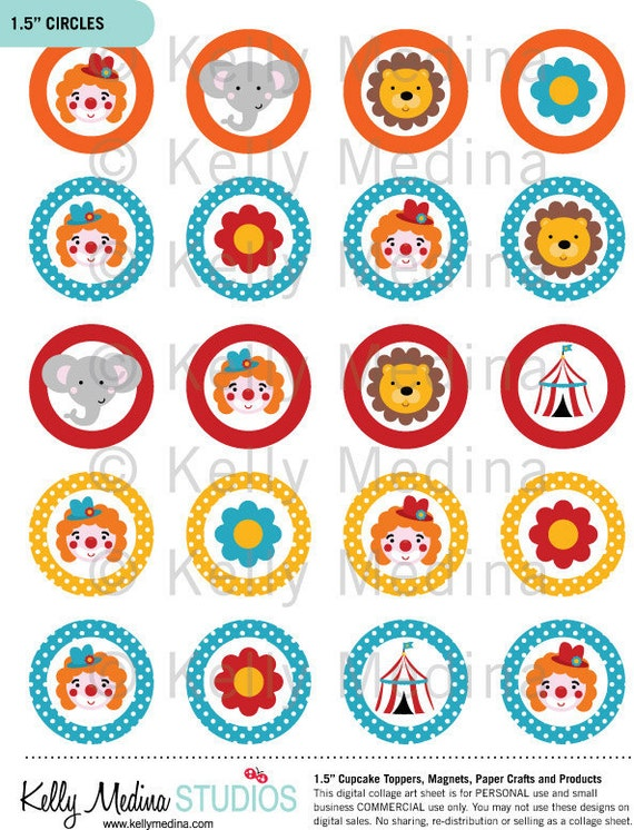 Items similar to Circus 2 - Clip Art 1.5 inch Circle ...