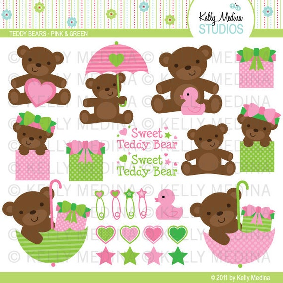 Teddy Bears - Pink & Green - Clip Art - Digital Elements Commercial use for Cards, Stationery and Paper Crafts and Products