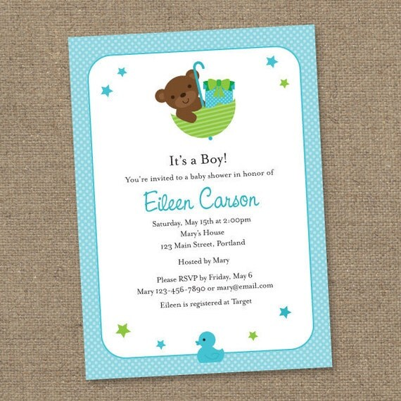 Custom Teddy Bear Baby Shower - Blue and Green- Printable Digital Invitation - Personal Use Only