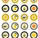 Bee - Clip Art 1.5 inch Circle Digital Collage Sheet - Commercial use for Cupcake Toppers, Magnets, Paper Crafts and Products