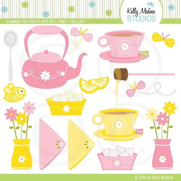 Summer tea party clipart set pink and by kellymedinastudios