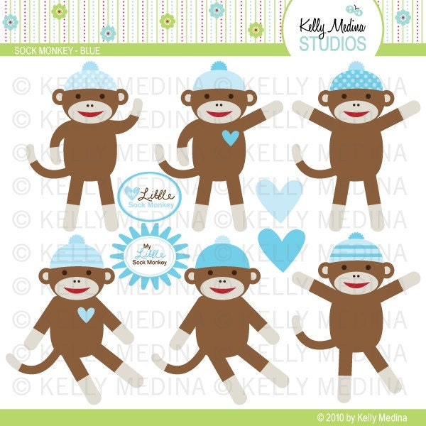 Sock Monkey Blue Clip Art Set Digital Elements Commercial