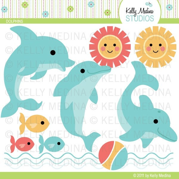 Dolphins Clip Art Set Digital Elements by Kellymedinastudios