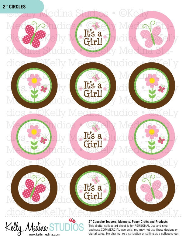 butterfly baby shower 2 inch circle digital sheet