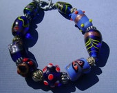 Beaded Bracelet - Blu Lampwork Bracelet, Blue Beads, Glass, Blue, Hippie, Boho, Fun, Funky, Thai Silver