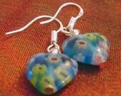 Heart Earrings, Dangle Earrings, Children's Earrings, Millifiori Earrings