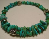 Memory Wire Turquoise Bracelet with Silver Accent Beads