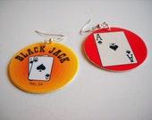 POG Earrings, paper, repurposed, Black Jack, Casino, Geekery, Funky, Fun Earrings