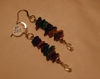 Beaded Dangle Earrings, Colorful, Fun, Funky, Bohemian, Mother of Pearl Earrings