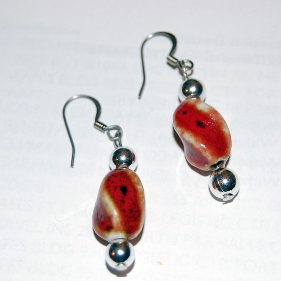 Red Porcelain Dangle Earrings with Sterling Silver Beads