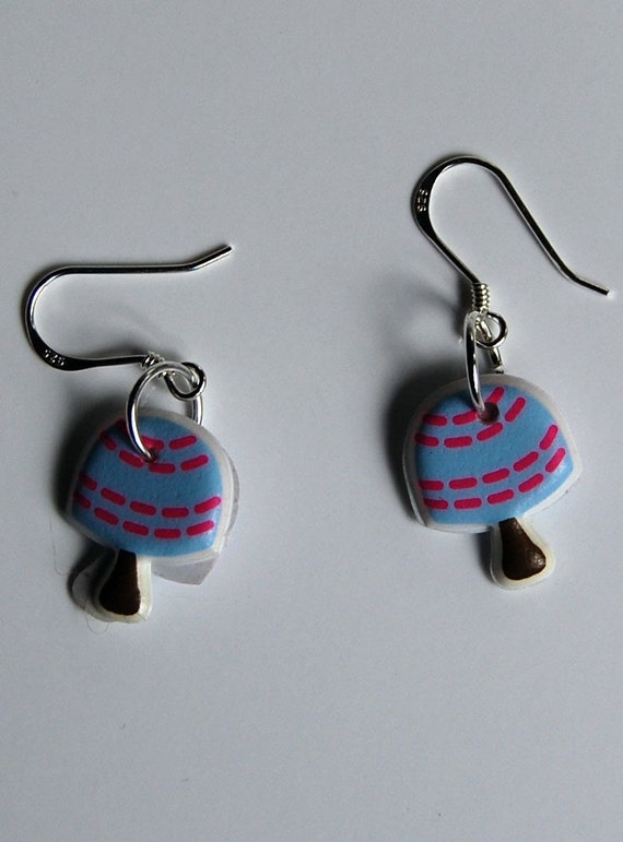 Children's Earrings, Mushrooms, Blue and Pink, Fun, Funky, and Upcycled