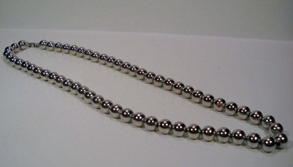Silver Beaded Metal Necklace, 80's, Vintage, Disco, Funky
