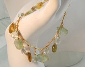 Tourmaline, green amethyst, prehnite multi gem GF bracelet
