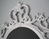 NEW LISTING WEDDING Chalkboard /Mirror In One 33inx20in White Hollywood Regency/Shabby Chic/French Country/Ornate Mirror/Revived Vintage