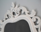 HOLLYWOOD REGENCY WEDDING Decorative Ornate Chalkboard and Mirror In One 28inx19in White  Shabby Chic/ French Country/Ornate Mirror/Revived Vintage