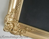 """GOLD FRAMED CHALKBOARD Extra Large Wedding Huge Menu Board Gold Old World Style Collection 42""""x30"""" Black board French Country"""