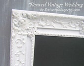 VINTAGE WEDDING MENU Board Distressed Framed French Country Chalkboard Wedding Ideas White Framed New Baby Gift Shabby Chic Kitchen Decor