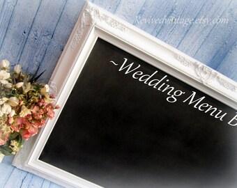 """ELEGANT WEDDING CHALKBOARD Wedding Seating Chart Escort Card Holder Wedding Decor Signs Menu Board White Gold Framed 44""""x 32"""" Baroque"""