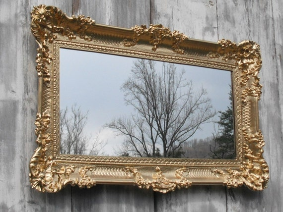 Hollywood regency mirror gold baroque victorian restaurant for Cheap antique style mirrors