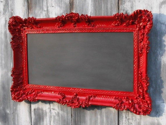 HOLLYWOOD REGENCY CHALKBOARD Red French Country Kitchen 36inx21in Baroque Wedding Restaurant Menu Memo Message Board