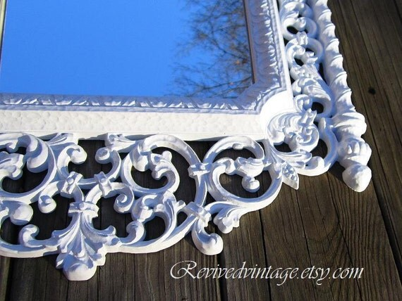 Ornate decorative mirror white for sale hollywood regency for White framed mirrors for sale