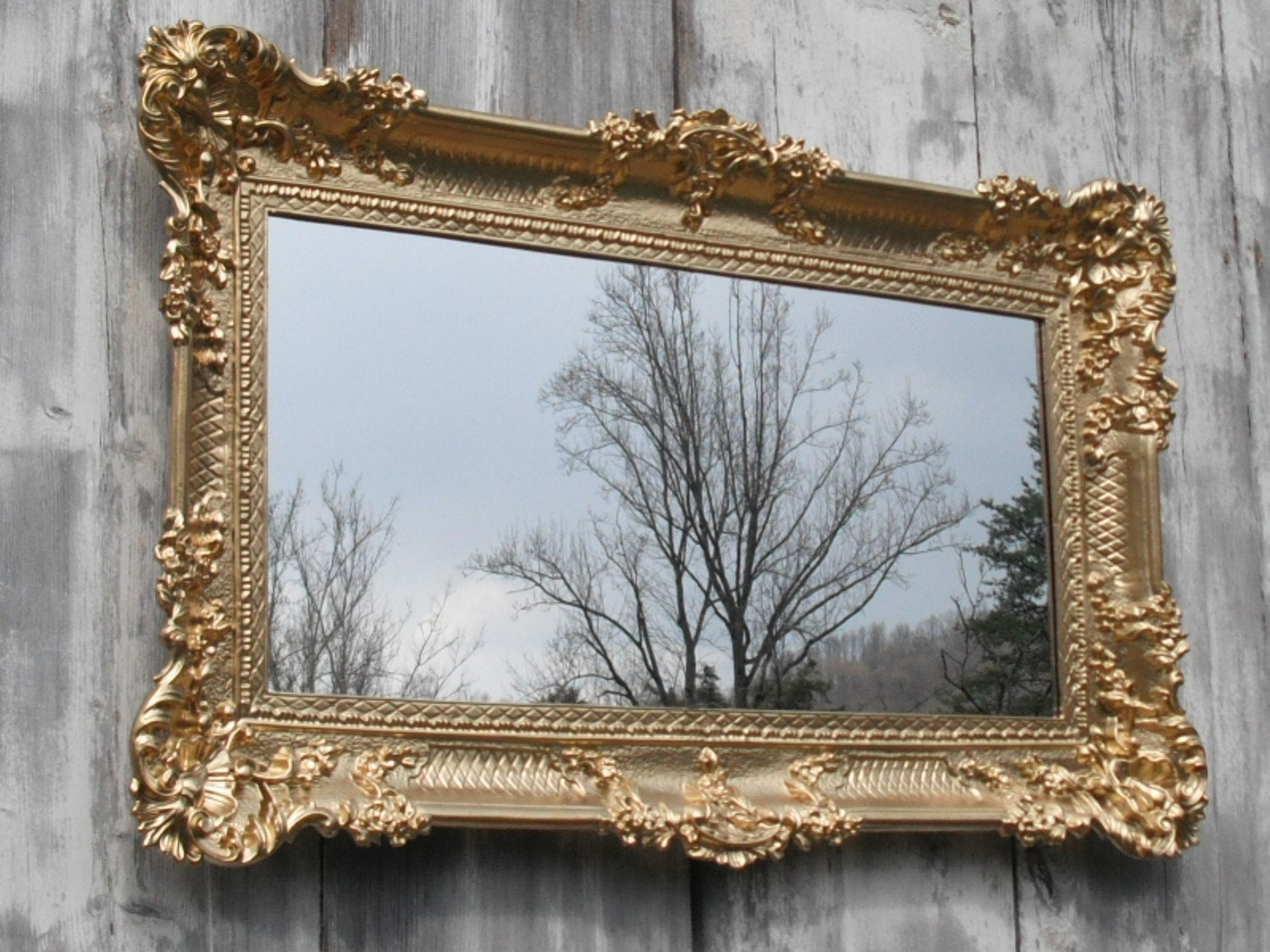 Hollywood regency mirror gold baroque victorian restaurant for Baroque mirror