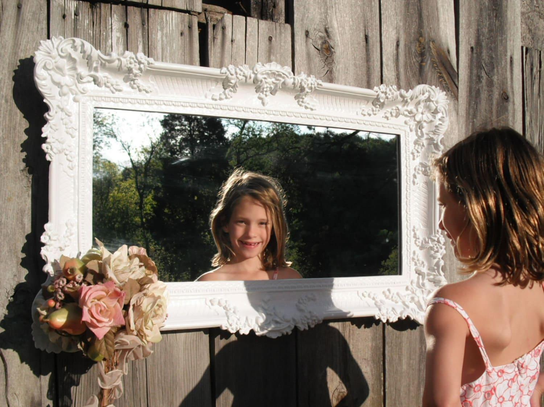 Hollywood regency mirror white baroque victorian french for White baroque style mirror