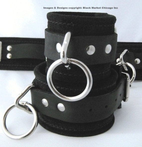 BDSM Bondage Cuffs Wrist or Ankle Restraints Suede and with Leather Straps