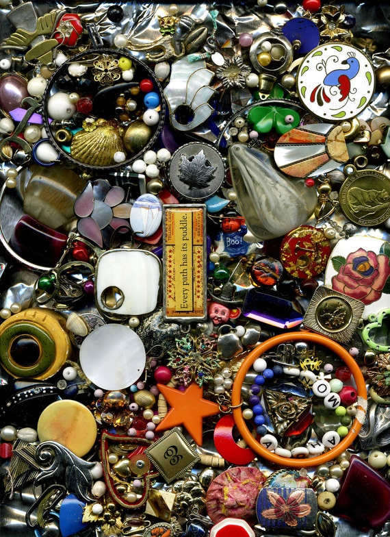 PIF Craft Destash - Beads, Pendants, Medallions, Earrings, and More - Perfect for Assemblage or Collage Projects