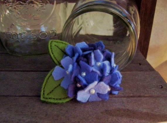 Hydrangea Felt Flower Hairbow in Shades of Purple-Blue